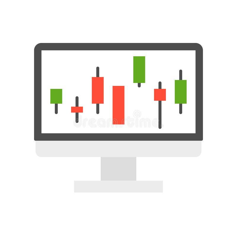 Kerzenständerdiagramm auf Bildschirm, Datenbericht oder marke auf Lager lizenzfreie abbildung