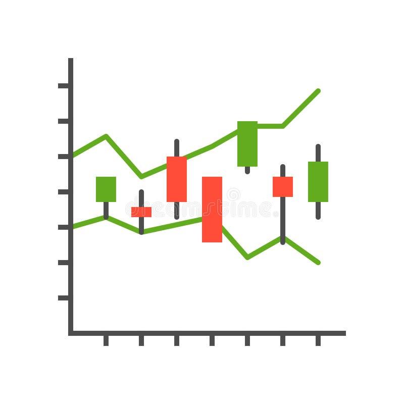 Kerzenständerdiagramm, Datenbericht oder Börseikonenkonzept stock abbildung