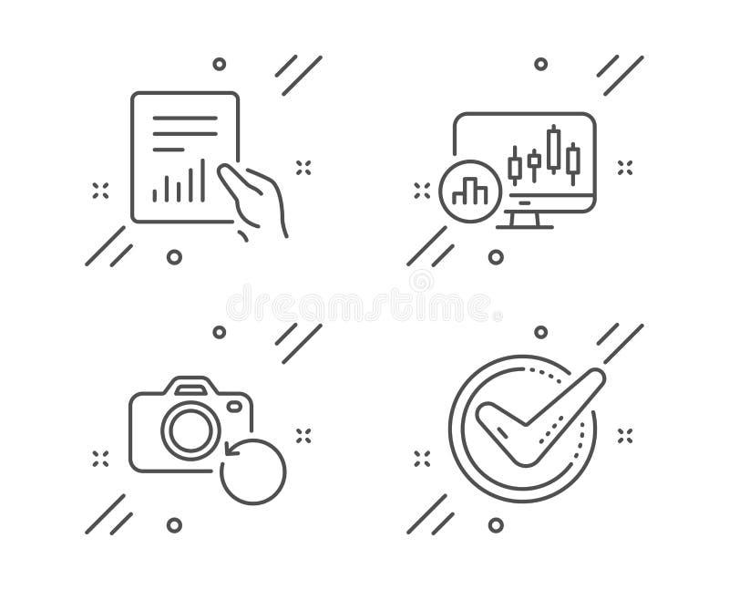 Kerzenständerdiagramm, Dokumenten- und Wiederaufnahmefotoikonensatz Best?tigtes Zeichen Vektor vektor abbildung
