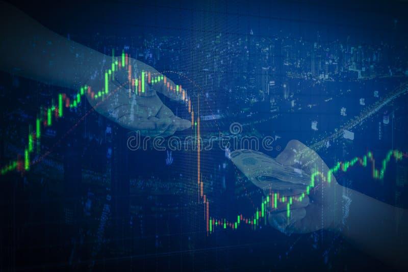 Kerzenständerdiagrammbürogebäude Hintergrund, Geschäft und fina vektor abbildung