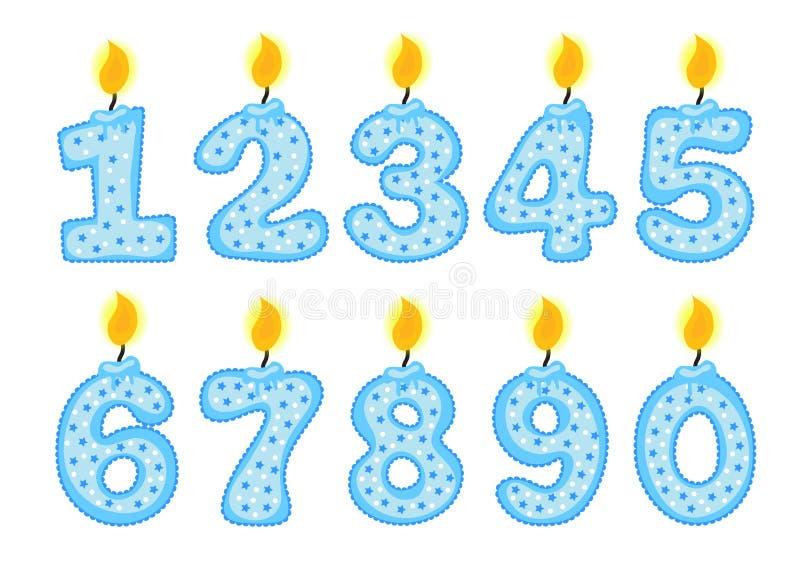 Kerzenzahlsatz, Illustration von Geburtstagskerzen auf einem weißen Hintergrund, stock abbildung