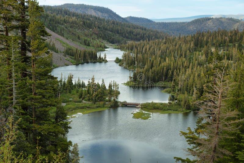 Kes in Mammoth lakes, California. Beautiful landscape of Twin lakes in Mammoth lakes, California royalty free stock photography