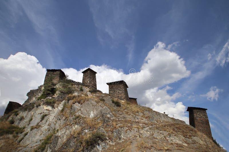 Keselo Fortress Towers in Upper Omalo Village, Tusheti, Georgia royalty free stock photo