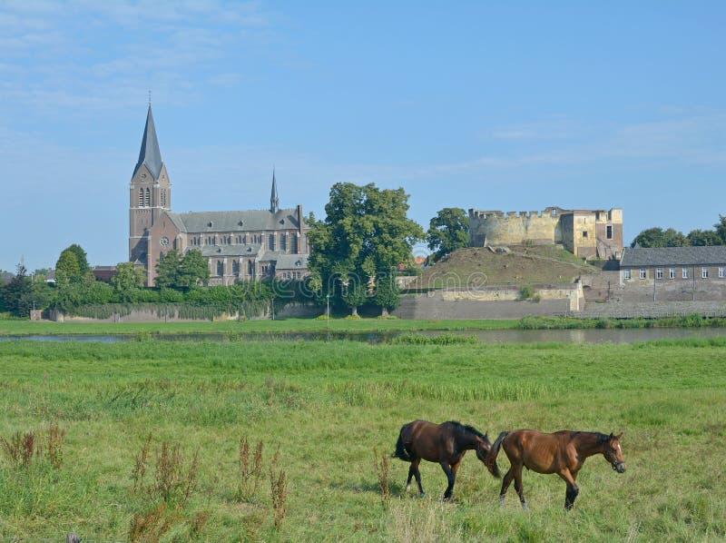 Kessel, Maas-Fluss, Limburg, die Niederlande lizenzfreie stockfotografie