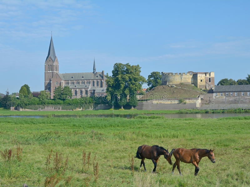 Kessel, Maas Rivier, Limburg, Nederland royalty-vrije stock fotografie