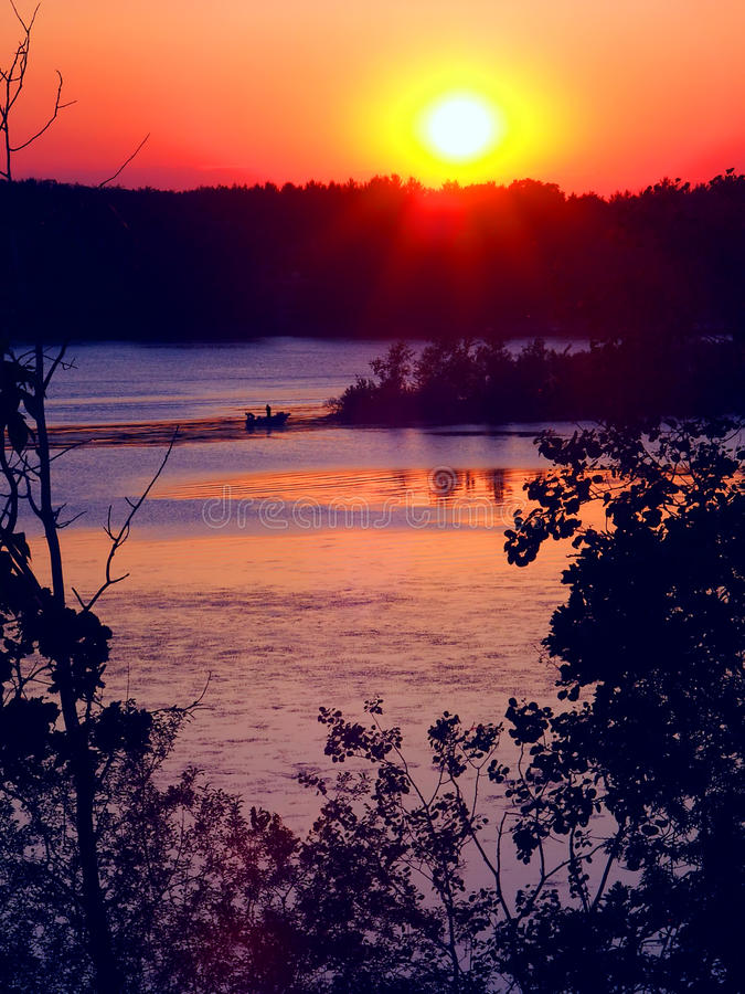 Kessel-Moraine-Wisconsin-Sonnenuntergang lizenzfreie stockfotografie