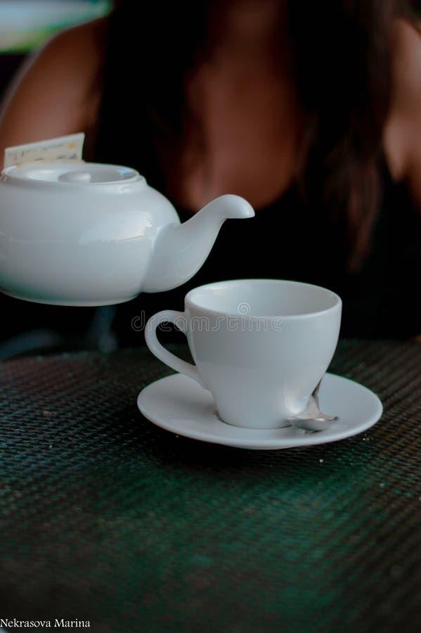Kessel und Tasse Tee lizenzfreies stockbild