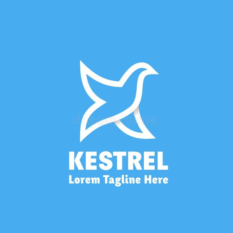 Kestrel wektoru Abstrakcjonistyczny znak, emblemat lub loga szablon, Ptak jako Listowy K symbol Kreskowego stylu sylwetka z typog ilustracja wektor