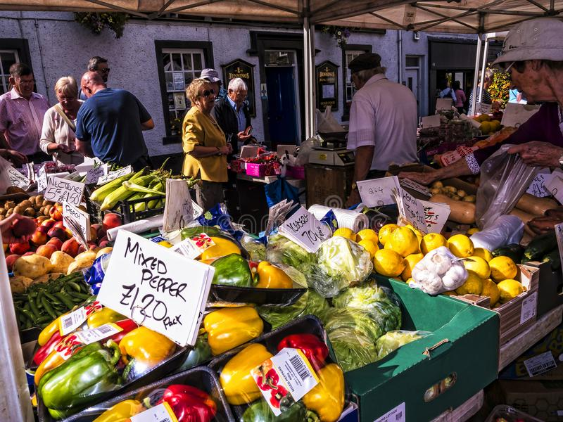 Market in Keswick in north-western England, in the heart of the Lake District. Keswick is a market town in northwest England's Lake District National royalty free stock photos