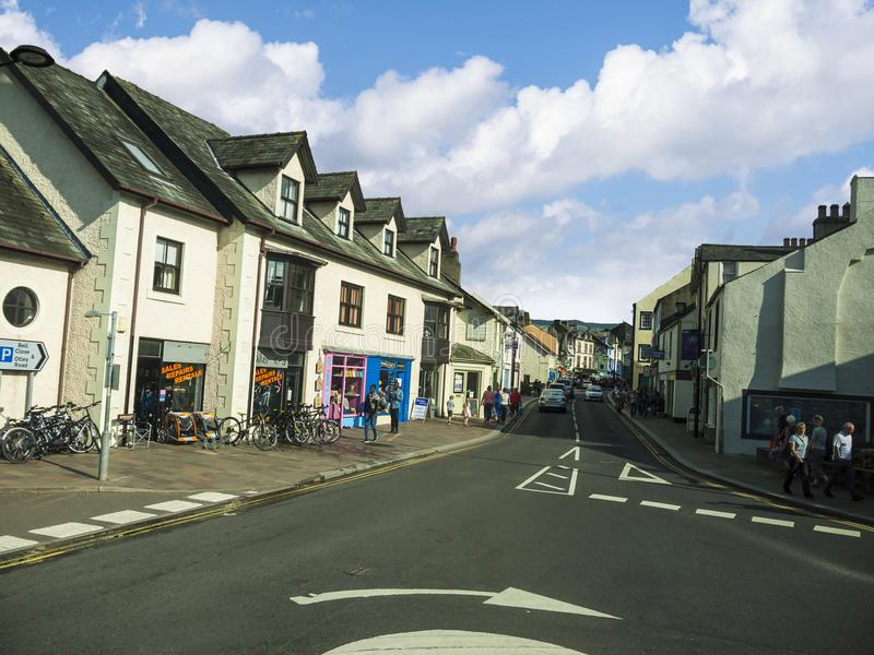 Keswick in north-western England, in the heart of the Lake District. Keswick is a market town in northwest England's Lake District National Park stock images