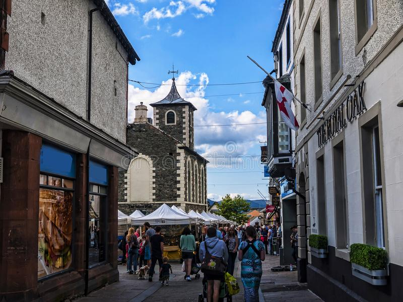 Market in Keswick in north-western England, in the heart of the Lake District. Keswick is a market town in northwest England's Lake District National stock photos