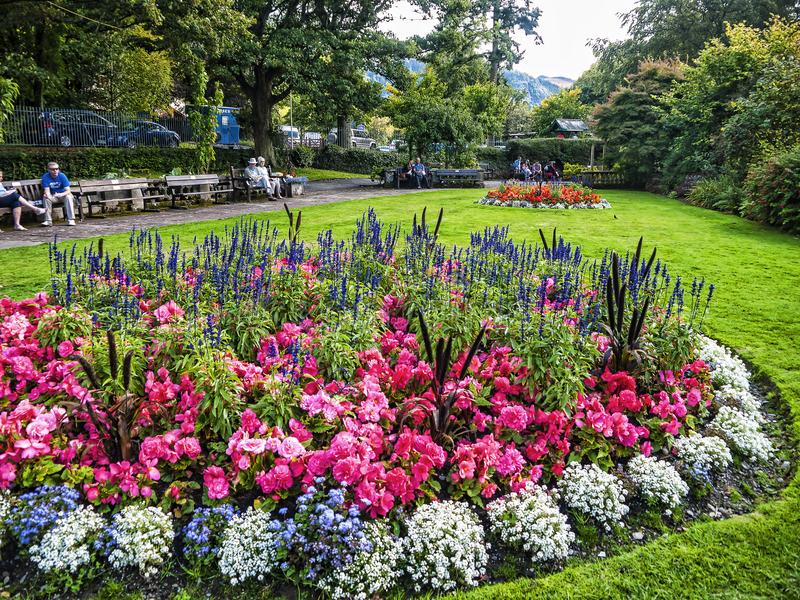 Hope Park in Keswick in north-western England, in the heart of the Lake District. Keswick is a market town in northwest England's Lake District National royalty free stock photo