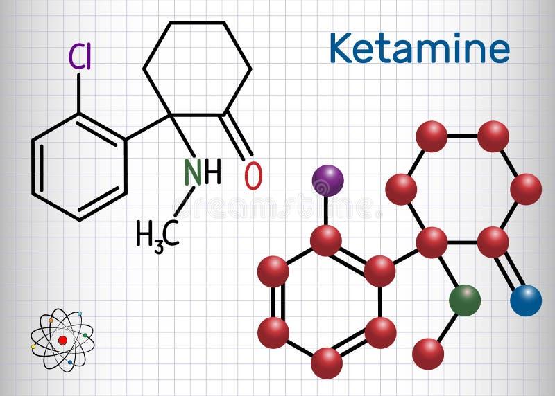 Ketaminmolekyl Det används för anestesi i medicin Struct royaltyfri illustrationer