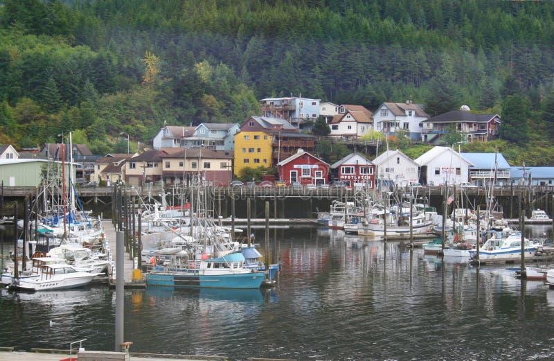 Ketchikan阿拉斯加港口小船 免版税库存照片