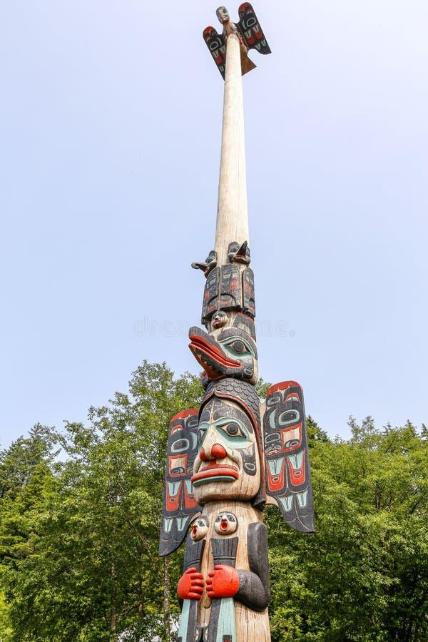 Ketchikan, Alaska, Rodzimy Alaski Tlingit totemu słup zdjęcia royalty free