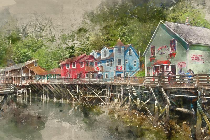 Painterly converted image of Creek Street historic boardwalk in Ketchikan royalty free stock photos
