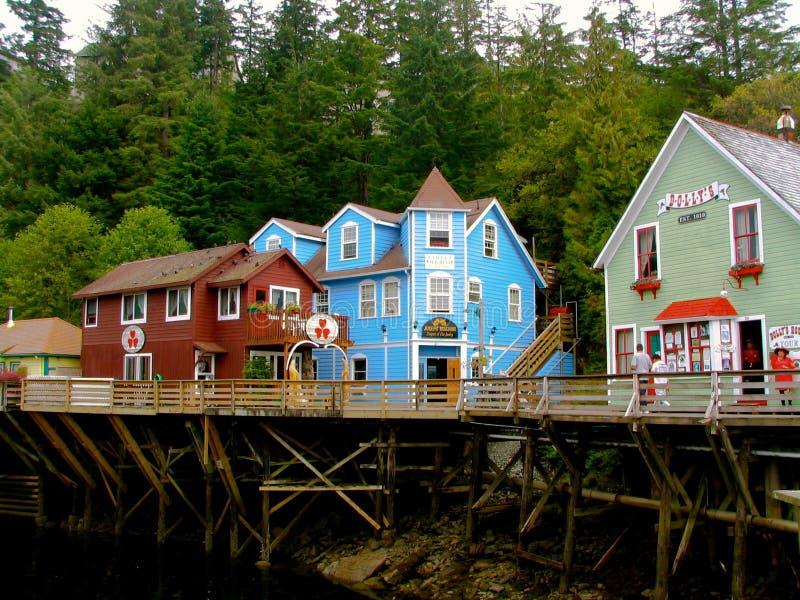 Ketchikan Alaska zatoczki Uliczny historyczny boardwalk zdjęcie stock
