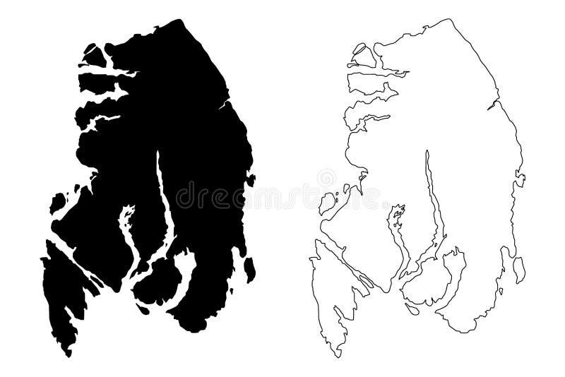 Ketchikan Gateway Borough, Alaska Boroughs y zonas censales en Alaska, Estados Unidos de América, Estados Unidos,. S. , vector de ilustración del vector