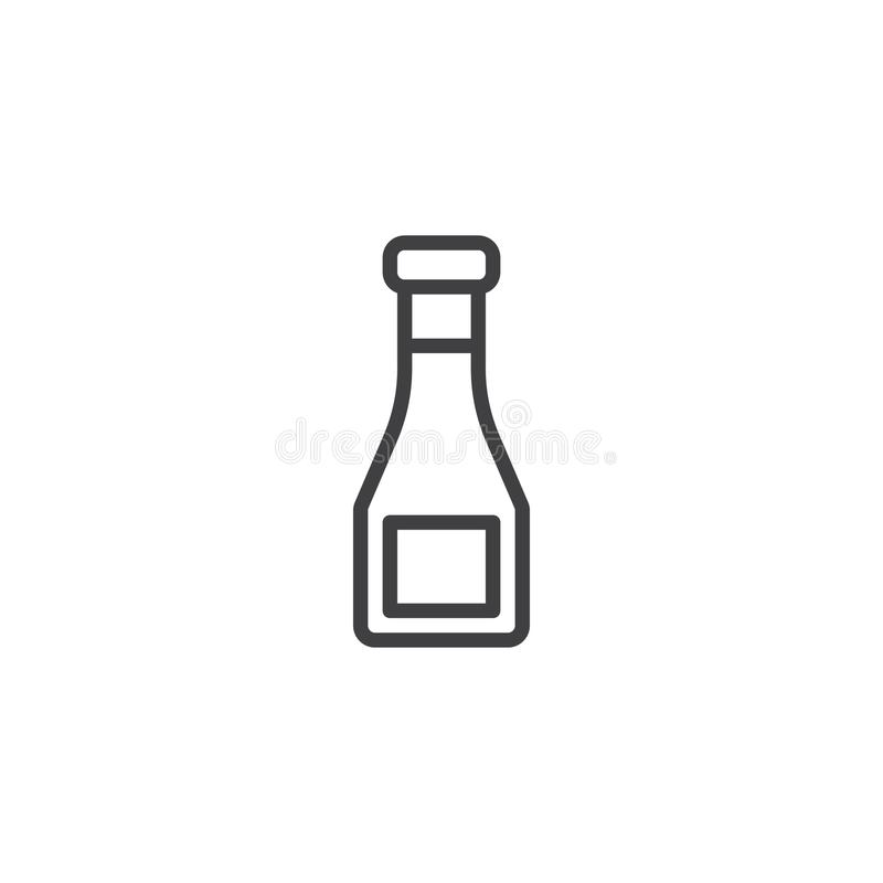 Ketchup bottle outline icon. Linear style sign for mobile concept and web design. sauce bottle simple line vector icon. Symbol, logo illustration. Pixel royalty free illustration