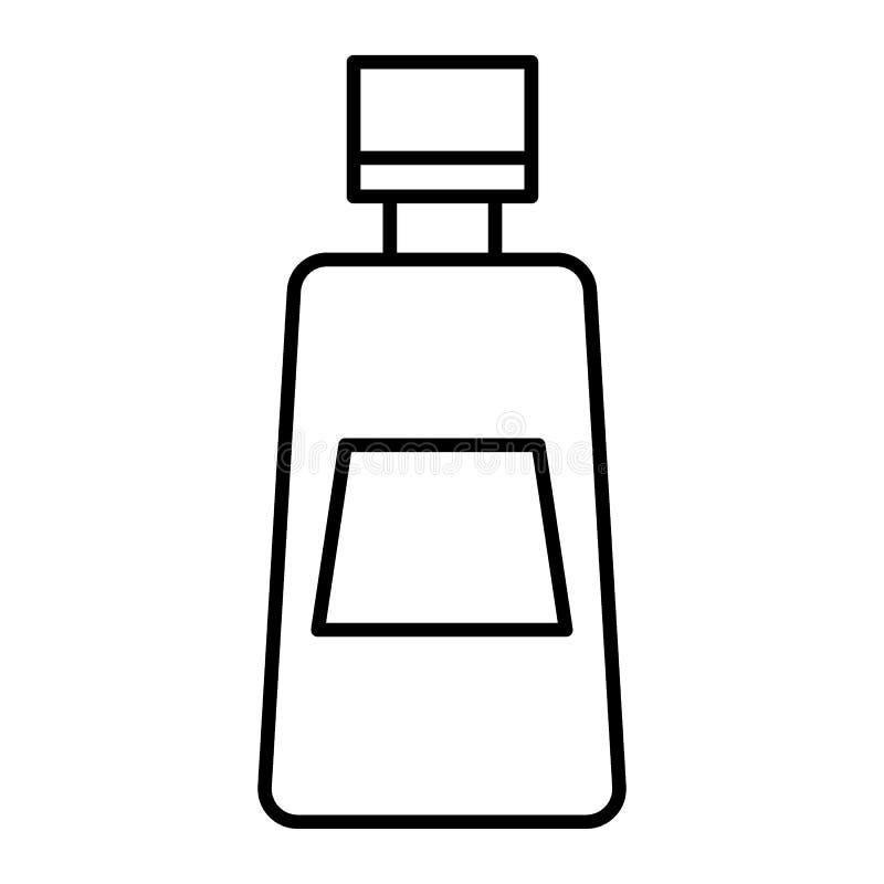 Ketchup butelki cienka kreskowa ikona Pomidorowego ketchupu wektorowa ilustracja odizolowywająca na bielu Butelka catsup konturu  ilustracji