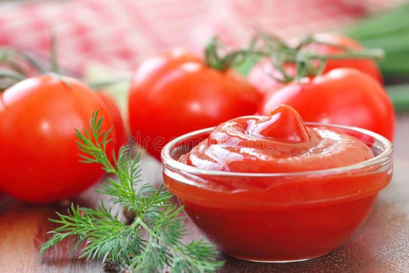 Ketchup della salsa al pomodoro con i condimenti in una ciotola di vetro immagini stock libere da diritti