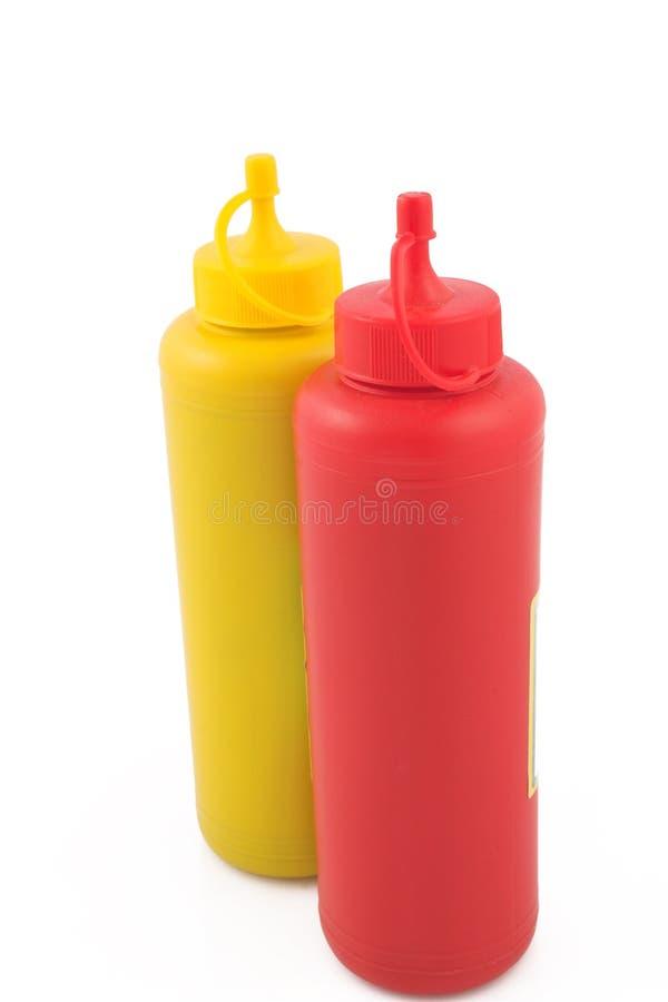 Ketchup e mostarda foto de stock royalty free