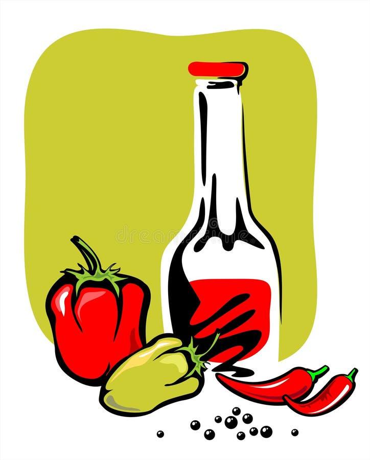 Ketchup e pimenta ilustração royalty free