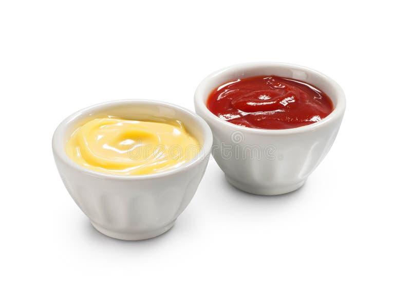 Ketchup en mayonaise royalty-vrije stock afbeeldingen