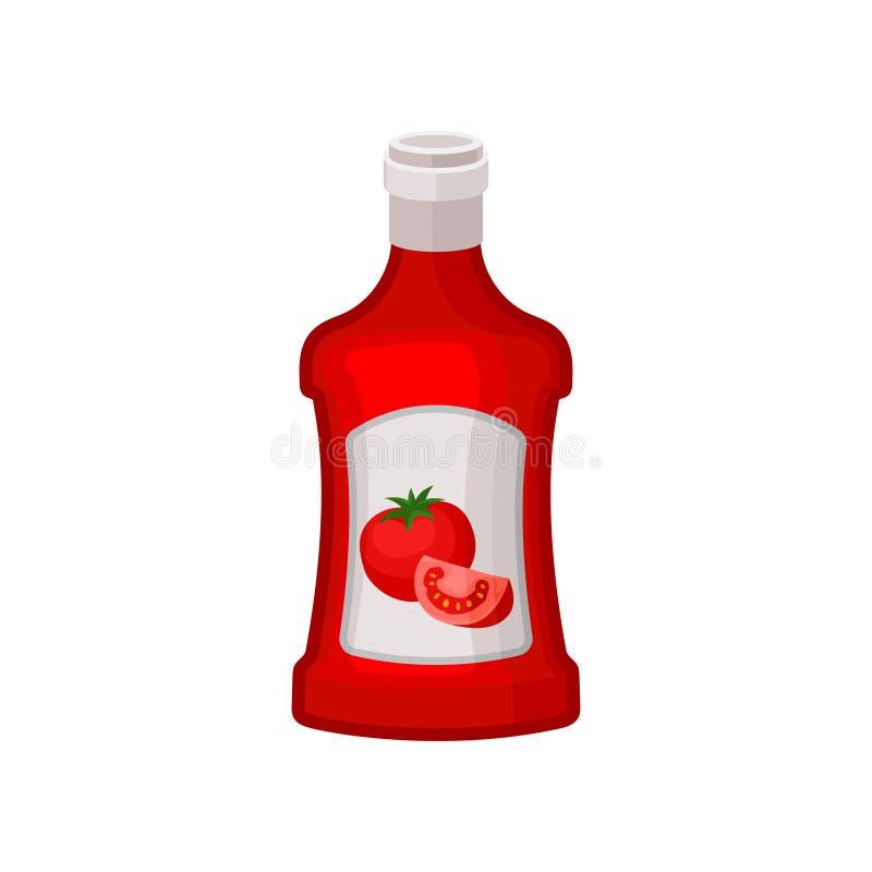 Ketchup i röd plast- flaska Dekorativ etikett för design Smaklig vätskesmaktillsats för disk Plan vektor för annonsering av affis stock illustrationer