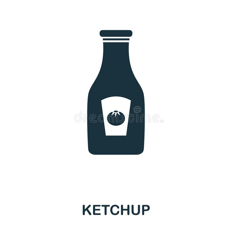 Ketchup icon. Mobile apps, printing and more usage. Simple element sing. Monochrome Ketchup icon illustration. Ketchup icon. Mobile apps, printing and more stock illustration