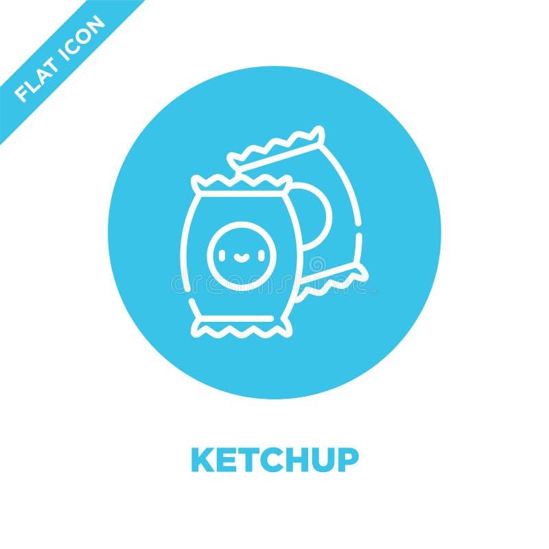 ketchup ikony wektor od bierze oddaloną kolekcję Cienka kreskowa ketchupu konturu ikony wektoru ilustracja Liniowy symbol dla uży ilustracja wektor