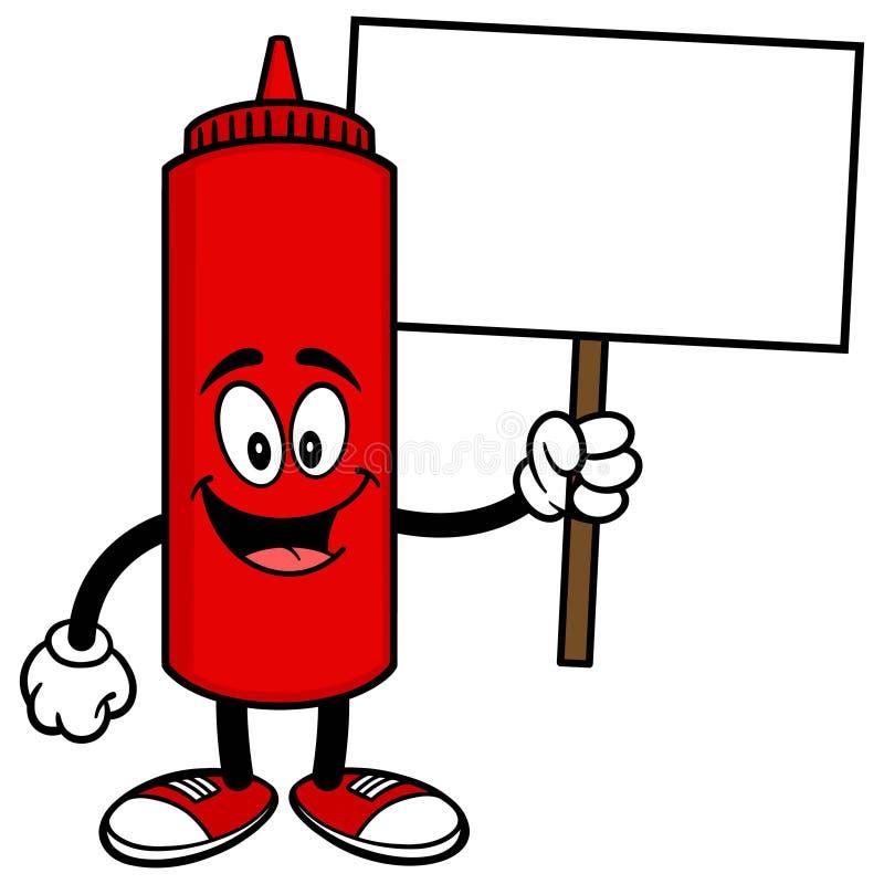 Ketchup med ett tecken stock illustrationer