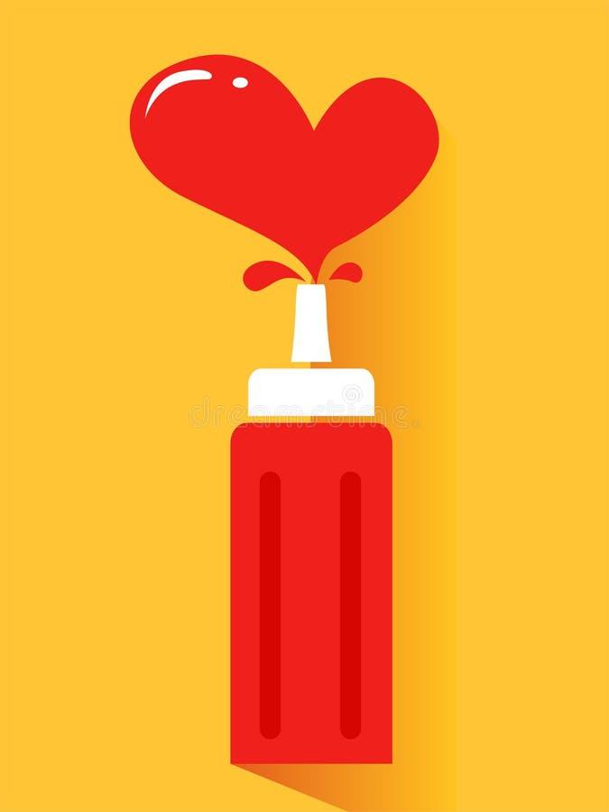 Ketchup med hjärtafärgstänk stock illustrationer