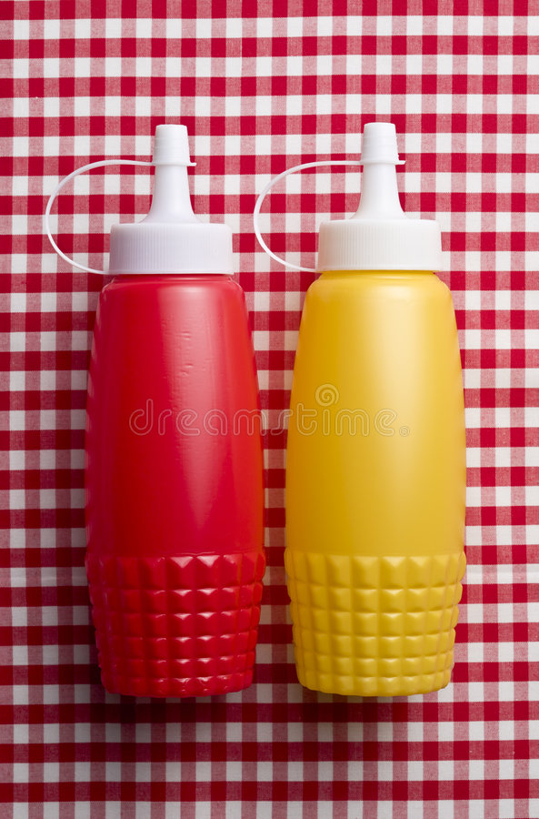 Download Ketchup and mustard stock image. Image of tablecloth, colour - 5336343