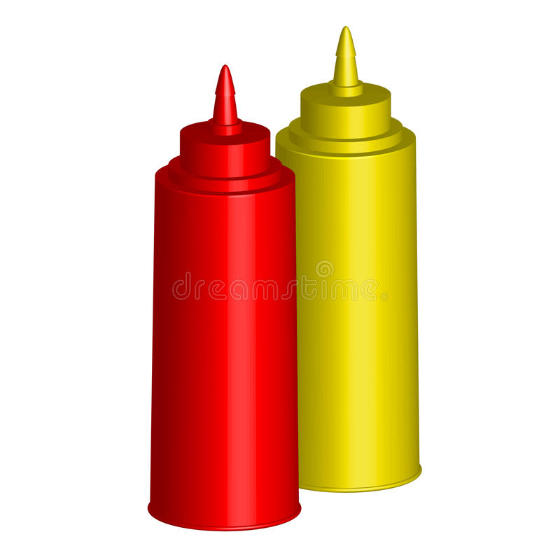 Ketchup och senap royaltyfri illustrationer