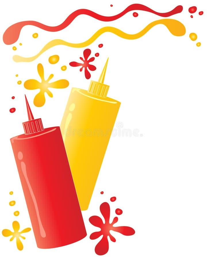Ketchup och senap vektor illustrationer