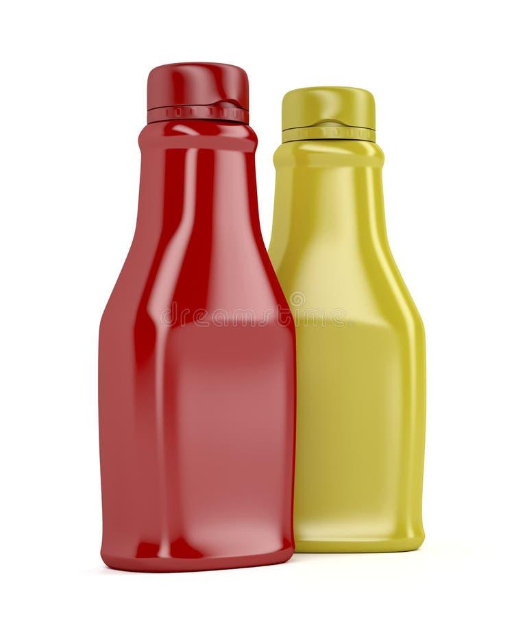 Ketchup och senap stock illustrationer