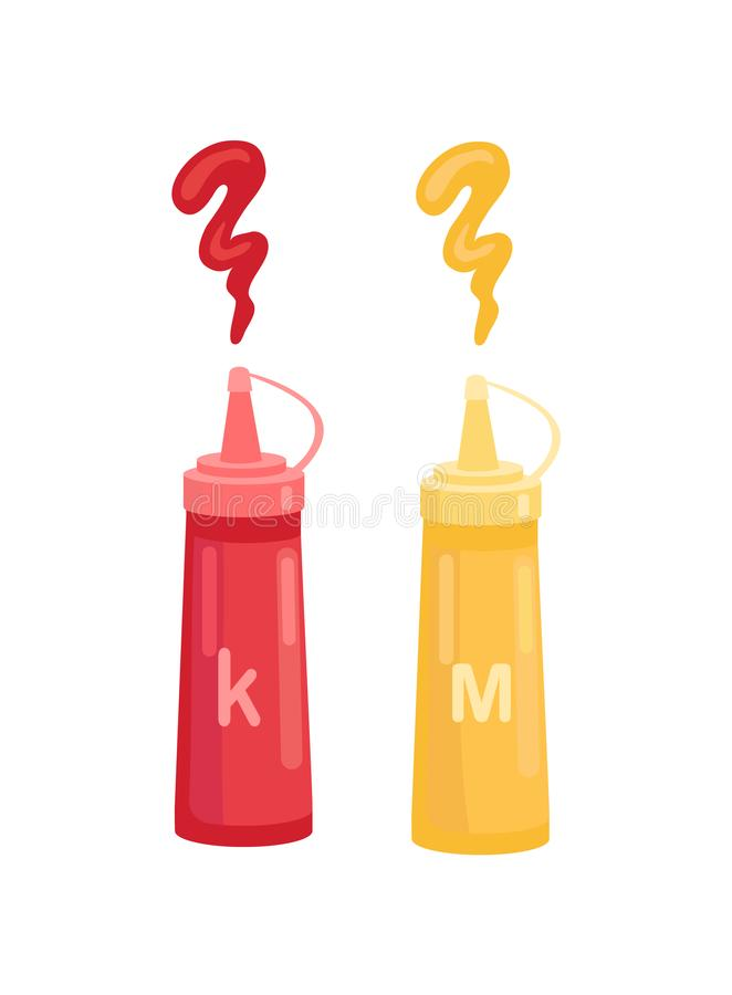 Ketchup och senap i symbol för flaskvektortecknad film stock illustrationer