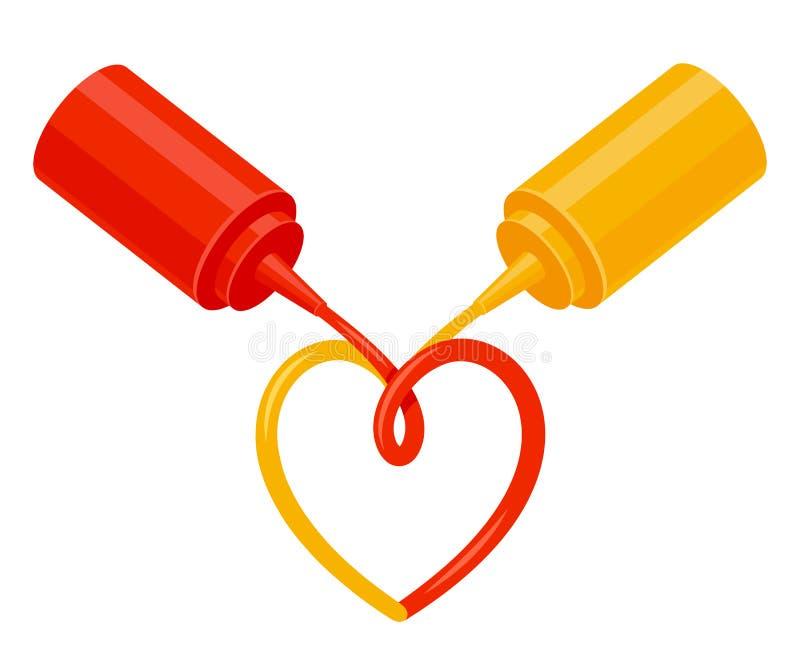 Ketchup och senapsgult förälskelse stock illustrationer