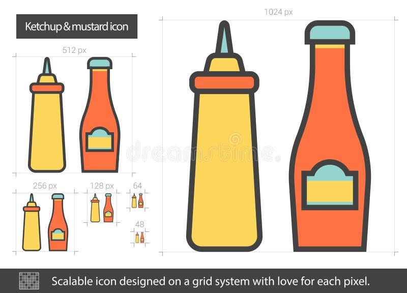Ketchup och senapsgult linje symbol vektor illustrationer