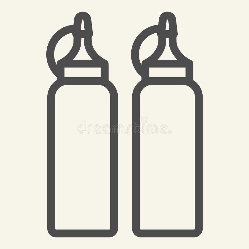 Ketchup och senapsgult linje symbol Två flaskor med såsvektorillustrationen som isoleras på vit Behållareöversiktsstil stock illustrationer