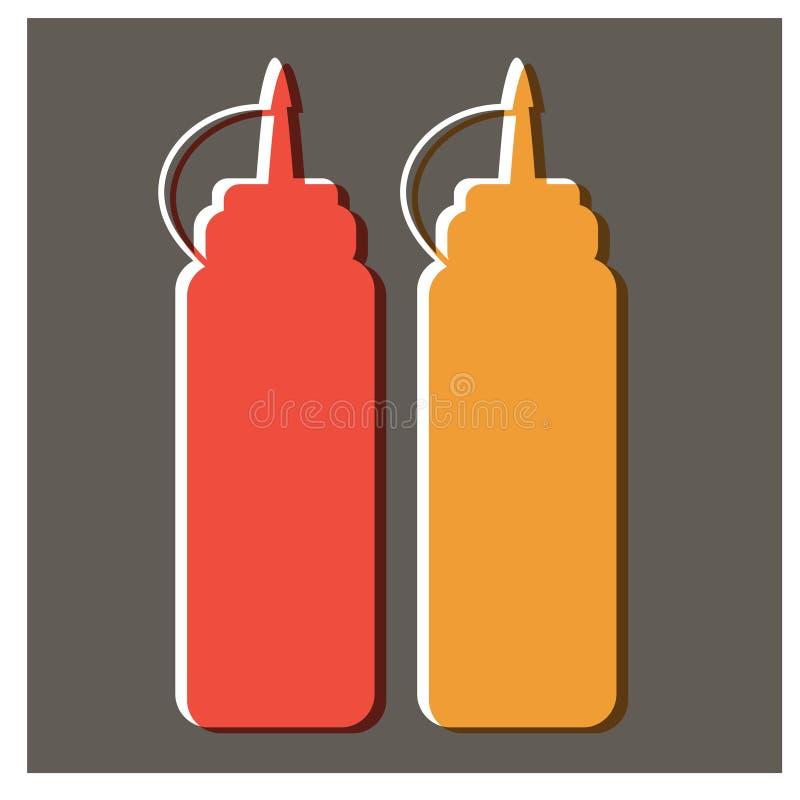 Ketchup och senapsgult plan illustrationdesign royaltyfri illustrationer