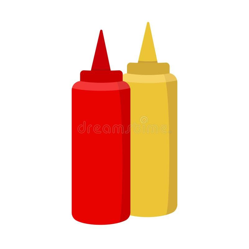Ketchup och senapsgult symbol på vit bakgrund för diagrammet och rengöringsdukdesignen, modernt enkelt vektortecken för färgbegre vektor illustrationer