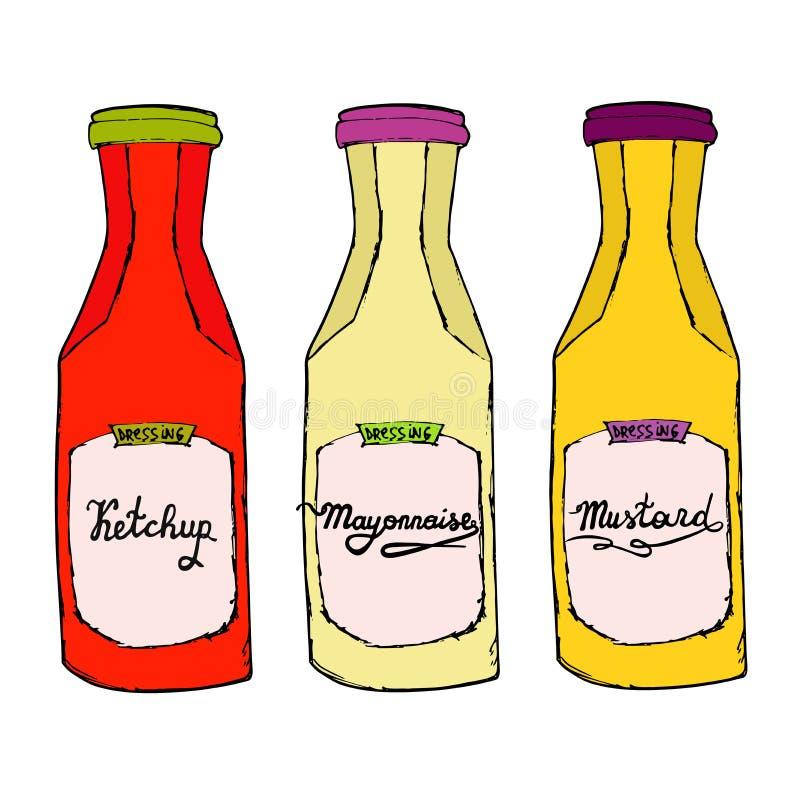 Ketchup senap, majonnäsflaskor Handen dragit konstnärligt skissar stock illustrationer