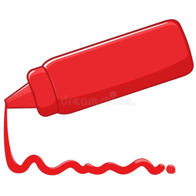 Ketchup som spiller från flaskan vektor illustrationer