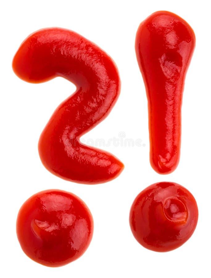 Ketchup sotto forma di un punto interrogativo immagine stock