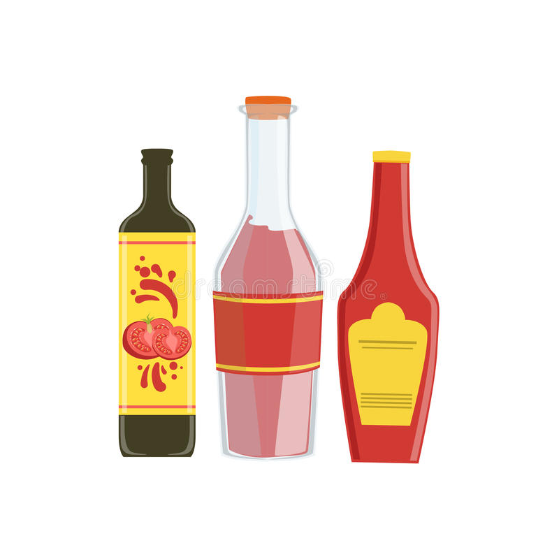 Ketchup, Soya And Hot Sauce Set Of Pizza Ingredients. Vector Illustration In Realistic Simplified Style. Isolated Objects On White Background stock illustration