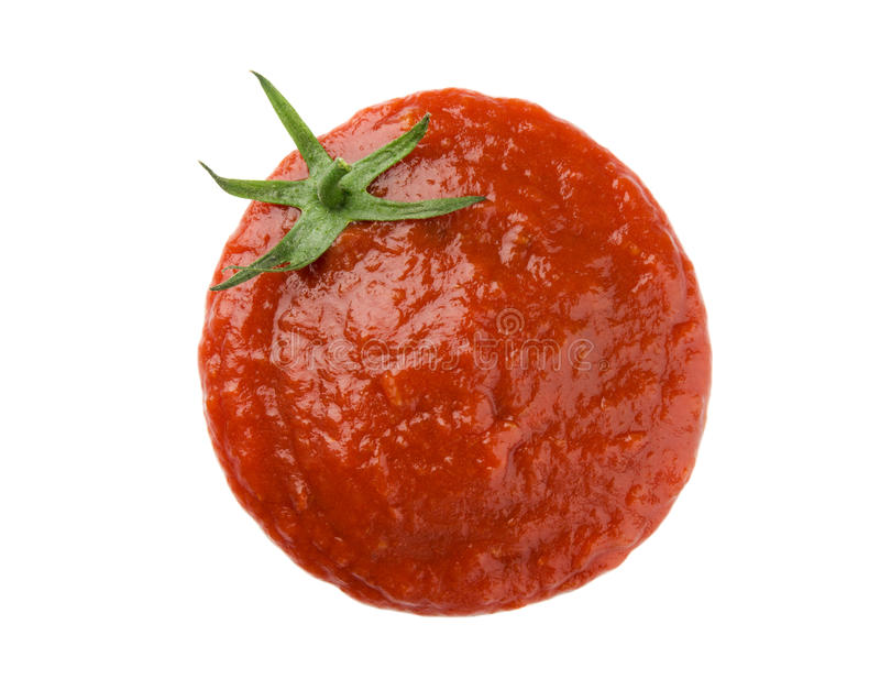 Ketchup stain. Forming a tomato shape royalty free stock images
