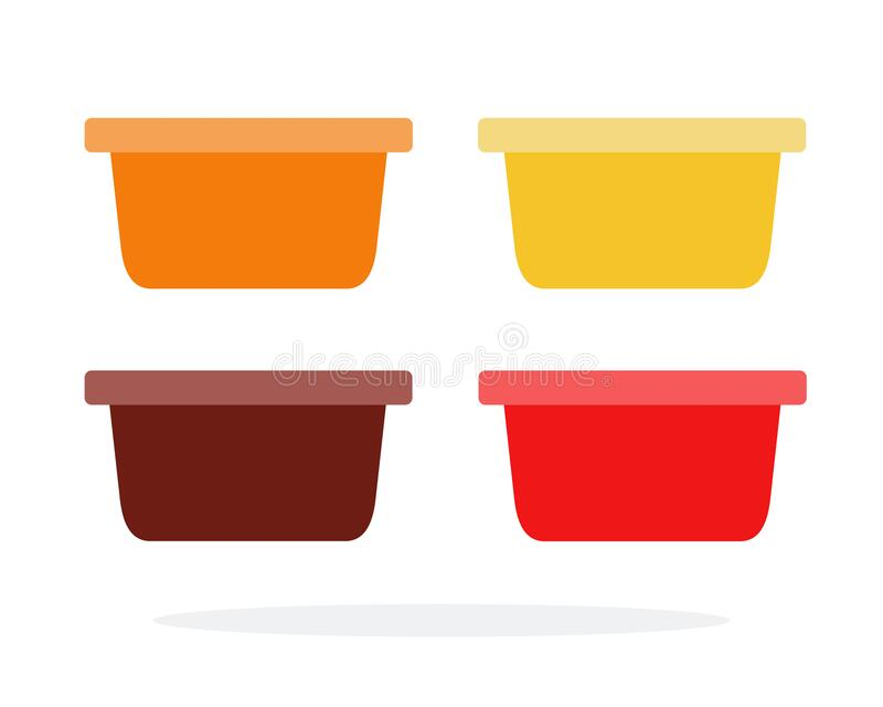 Ketchup, sweet and sour sauce, barbecue sauce, mustard containers. Vector flat material design isolated on white stock illustration