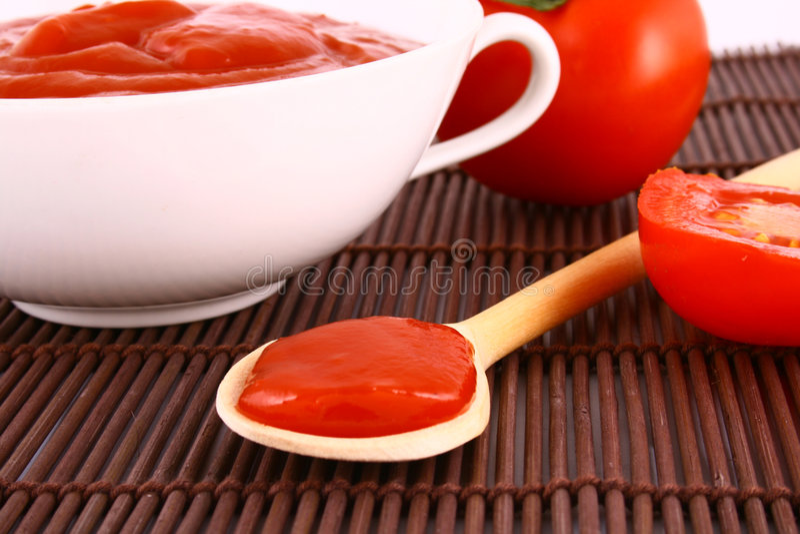 Ketchup-tomaat deeg stock afbeelding